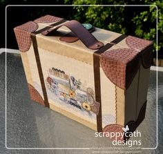 Make a suitcase box to hold a travel/vacation scrapbook...so cute!