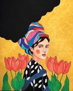 Art And Illustration, Portrait Illustration, Bd Pop Art, Portrait Art, Woman Portrait, Fabric Painting, Female Art, Collage Art, Watercolor Art
