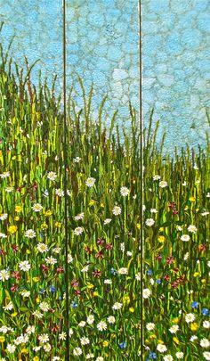 Wild Flower Triptych by Kimmy McHarrie. 125 x 25 cm (x3)