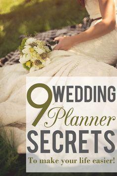 9 Wedding planner secrets to make your life easier! read more http://applebrides.com/2013/10/24/9-secrets-from-wedding-planners/