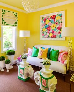 Lilly Pulitzer inspired garden room at the Designer Show House of NJ, Saddle River NJ 2012. Love the floral Lilly art!