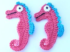 Crochet applique, 2 coral pink and turquoise  crochet seahorses, cards, scrapbooks, appliques and embellishments
