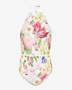 Encyclopaedia Floral halter neck swimsuit - Nude Pink   Swimwear   Ted Baker SEU
