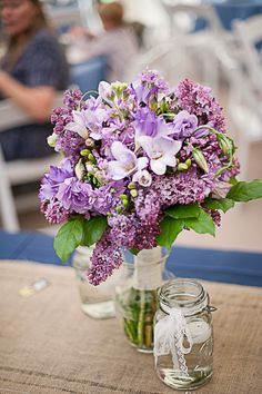 Beautiful Spring Wedding lilac floral arrangement