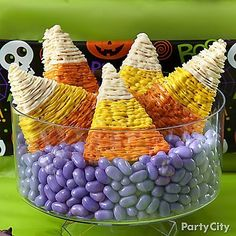 When the little monsters come clamoring for something sweet, meet them with a serving of Candy Corn Crispy Rice Treats! Description from partycity.com. I searched for this on bing.com/images