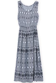 Black White Sleeveless Retro Geometric Print Dress - Sheinside.com