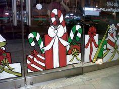 18 Ideas Diy Christmas Window Painting For 2019 Christmas Window Display, Christmas Window Decorations, Office Christmas, Christmas Store, Christmas Art, Christmas Windows, Christmas Window Paint, Old Window Screens, Window Mural