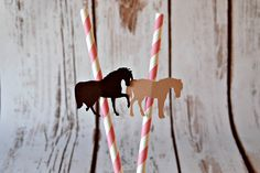 Cowgirl Themed Party Decorations, Western Style Paper Straws, Decorated Paper Straws, Set of 12