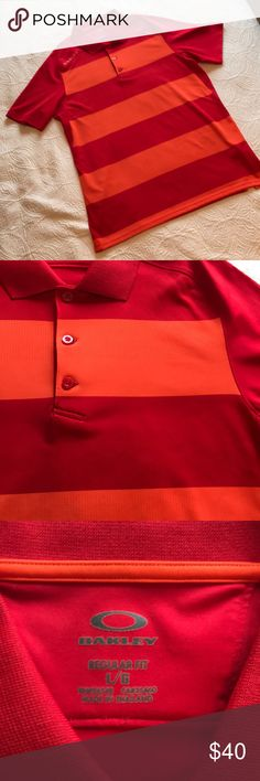 "EUC [oakley] Men's Red & Orange Striped Polo LG EUC [oakley] Men's Red & Orange Striped Polo LG 🔹Worn & washed 1X. LOOKS NEW!! 😊 🔹underarm to underarm = 22"" 🔹length center back neck to hem = 30.5"" 🔹regular fit 🔹1st pic courtesy of oakley ✅Offers Welcome w/Offer Button 🚫Trade 🚫PP 💰30%OffBundle 📦Ships1Day. Oakley Shirts Polos"