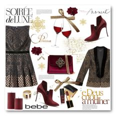 """Soirée de Luxe with bebe Holiday: Contest Entry"" by biljana-miric-ex-tomic ❤ liked on Polyvore featuring Brewster Home Fashions, Bebe, Casadei, LSA International, Katie Diamond, Tom Ford and Oris"