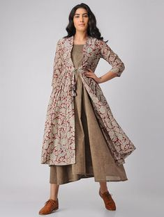 Maroon-Beige Kalamkari-printed Chanderi-Cotton Gathered Jacket with Dress (Set of 2)