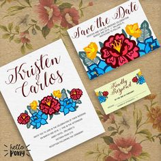 Mexican Wedding Kit Invitation - colorful and beautiful with mexican flowers - Printable Kit - Customizable de HelloPonyWorld en Etsy