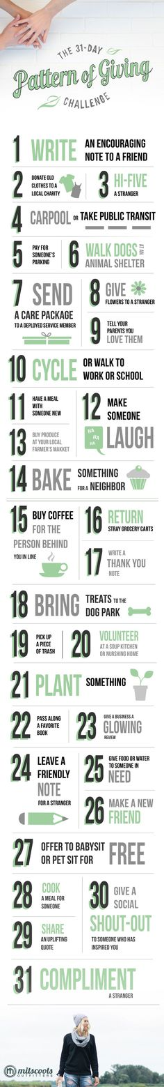 "The 31 Day ""Pattern Of Giving"" Challenge. A little kindness goes a long way!"