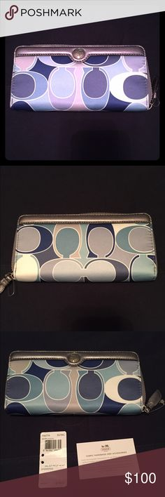 Patterned Coach Wallet Multi colored blue and grey coach wallet. Brand new! Plenty of room for credit cards, cash, and coins. Coach Bags Wallets