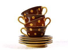 2 Lovely FRENCH brown coffee cups with yellow DOTS Sarreguemines - Mid CENTURY