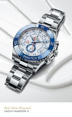 Rolex Yacht-Master II 44 mm in 904L steel with a blue ceramic bezel, white dial and Oyster bracelet. #Yachting #RolexOfficial