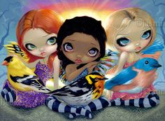 Bird Fairy Art : Three Little Birds by Jasmine Becket-Griffith Big Eyed Art