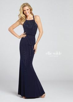 Sleeveless jersey fit and flare gown vertically adorned with heat-set stones modified halter straps continue into multiple crisscross back straps   Ellie Wilde by Mon Cheri