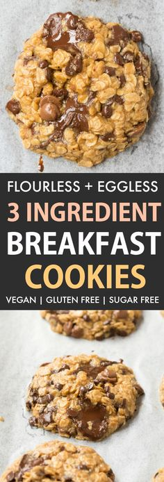 These 3 Ingredient Breakfast Cookies are SO easy and delicious, you only need 12 minutes! No flour, NO eggs and NO butter needed, they are a delicious filling breakfast packed with oatmeal, peanut butter and can be made with or without banana! Gluten Free Breakfasts, Gluten Free Desserts, Vegan Desserts, Dessert Recipes, Gluten Free No Bake Cookies, Brunch Recipes, Desserts With No Eggs, Healthy Breakfasts, Gluten Free Cooking