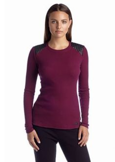 Marc New York Performance  Leather Trim Thermal Top