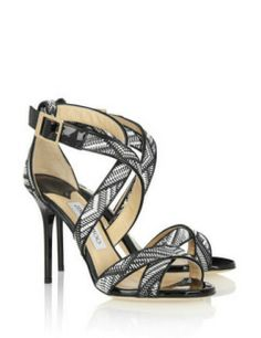 JIMMY CHOO Lottie patent-leather and woven faux-raffia sandals