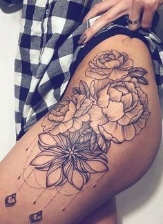 Dope Tattoos For Women, Simple Tattoos For Women, Sleeve Tattoos For Women, Trendy Tattoos, Cool Tattoos, Leg Sleeve Tattoos, Thigh Tattoos For Women, Side Tattoos Women, Art Tattoos
