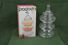 Anchor Hocking Pagoda Three Tier Glass Tree Candy Dish with Lid and Original Box