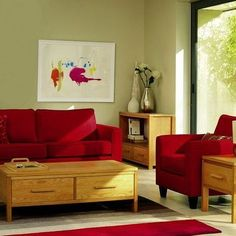 Dirty Facts About Fantastic Contemporary Living Room Designs Uncovered 00157 - decorurge Red Couch Living Room, Red Living Room Decor, Living Room Designs, Green Wall Color, Wall Colors, Color Red, Beautiful Living Rooms, Interior Walls, Red Couches