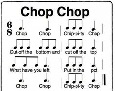 Chop Chop Chippity Chop a fun Orff activity in time. using solfege sol, la, mi, do Use with telling a story like Stone Soup. Preschool Music, Teaching Music, Orff Activities, Music Education Games, Music Songs, Music Games, Rhythm Games, 6 Music, Sheet Music