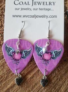 #WV #Coal #Guitar #Handmade  - Guitar Picks with Coal & Swarovski Crystal Earrings from WV Coal Jewelry!