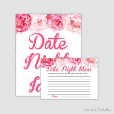 Pink Peonies Date Night Ideas - Date Night Jar - Date Night Cards - Bridal Shower - Bridal Shower Game - Bridal Shower Games - Date - 0012P