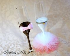 Wedding Glasses Set of 2 hand decorated Champagne Glasses for