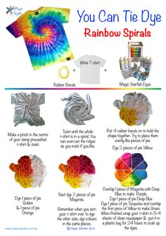 Learn how to Tie Dye a Rainbow Spiral swirl pattern. How to fold your t-shirt + where to put the dye.