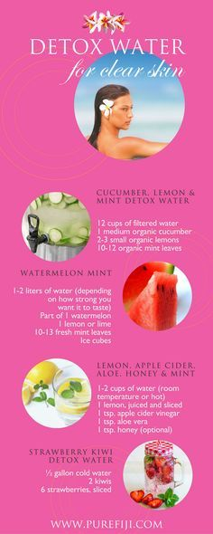Easy to make! Detox water is the perfect way to get all the necessary nutrients required for clear, glowing skin. Get homemade DIY beauty recipes http://www.purefiji.com/blog/drink-clear-glowing-skin/ | Clear Skin Care Tips