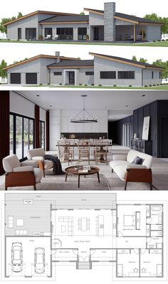 House plans home plans house designs houseplans homeplans adhouseplans dwell archdaily archilovers New House Plans, Dream House Plans, Modern House Plans, Small House Plans, Modern House Design, Modern Floor Plans, Three Bedroom House Plan, 2 Bedroom Floor Plans, Sims House