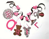 Damask baby shower decorations fancy pink and black it's a girl banner with bows by ParkersPrints on Etsy. $20.00, via Etsy.