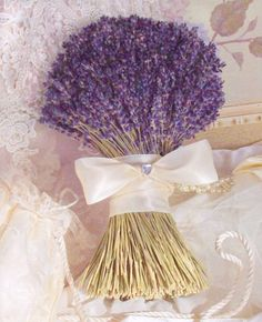 Super Lush Bridal Bouquet Of Lovely Lavender.I Bet This Bouquet Must Smell Heavenly! Bridal Flowers, Flower Bouquet Wedding, Herb Bouquet, Ribbon Bouquet, Bouquet Toss, Boquet, Homemade Wedding Flowers, Purple Wedding, Dream Wedding