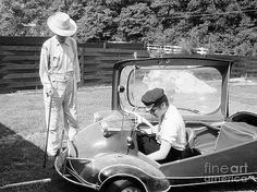 Elvis Presley with his Messerschmitt Micro Car 1956 with Family Friend At His Home On Audubon Dr. - 1956