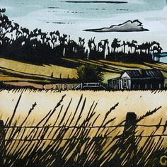 """Shelly Beach Road"" linocut by Grace Gladdish. http://www.etsy.com/uk/people/trees4thewood?ref=ls_profile. Tags: Linocut, Cut, Print, Linoleum, Lino, Carving, Block, Woodcut, Helen Elstone, Fields, Hay, Grasses, Landscape."