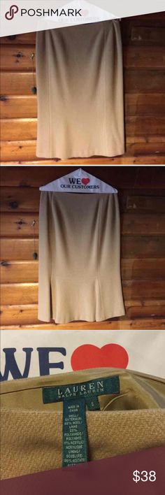 """Ralph Lauren Beige Wool Pencil Skirt Lauren-Ralph Lauren beige wool pencil skirt. Shell: 66% wool, 23% polyamide & 11% acrylic. Lining is 100% acetate. Size 6. Measurements: waist 17"""" across & 29"""" long (total length). Has Ruffle design in the back (photo 2). In good used condition (normal wear). Offers👍🏻 Lauren Ralph Lauren Skirts Pencil"""