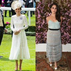 Lace  The Duchess was a vision in white wearing a Dolce and Gabbana dress to the 2016 Royal Ascot. Meghan also looked lovely in lace wearing a mint spaghetti strap number to a Glamour x L'Oreal Paris 2016 College Women of the Year event.