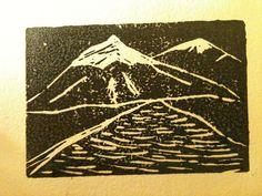 Small linoleum block print