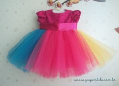 GagumBela Vestido para festa Circo em tule colorido