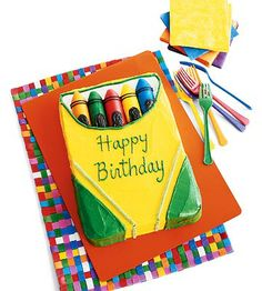 Budding artists will think this colorful crayon cake is sharp! This one comes together quickly thanks to boxed cake mix and their favorite packaged cakes and candies.
