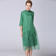 >> Click to Buy << 2017 New Summer Fashion women luxury silk dress vestidos Stand collar Embroidery Solid color A word female elbise #Affiliate