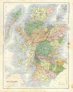 the shires of Scotland Scotland Map, England And Scotland, Find My Ancestors, Wild Deer, Glen Coe, Family Roots, My Roots, Historical Maps, Vintage Maps