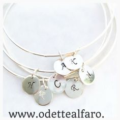A personal favorite from my Etsy shop https://www.etsy.com/ca/listing/478566118/sterling-silver-bangle-with-initial