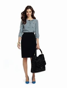 Black skirt and a long sleeved blouse.  Royal blue shoes might have to wait.
