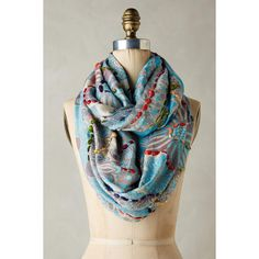 Anthropologie Embroidered Arabesque Infinity Scarf ($48) ❤ liked on Polyvore featuring accessories, scarves, blue green, loop scarf, infinity scarves, green scarves, circle scarf and green infinity scarves