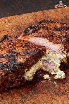 In the mood for bold? Try this grilled steak recipe stuffed with blue cheese. The blue cheese crumbles bring the savory while Grill Mates Hot Pepper Blackened Seasoning brings the heat. Guests will love this awesome spicy steak recipe.